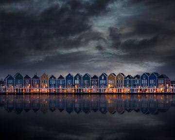 Hölzerne Häuser in der Stadt Houten von Dennis Donders