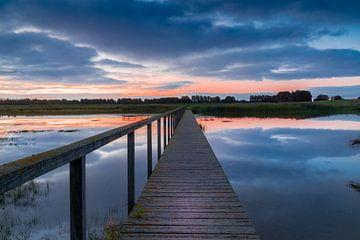 voetgangersbrug over het water bij zonsopkomst. van