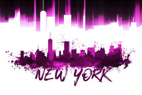 Graphic Art NYC Skyline | pink