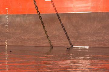 Voor Anker in de haven van scheepskijkerhavenfotografie