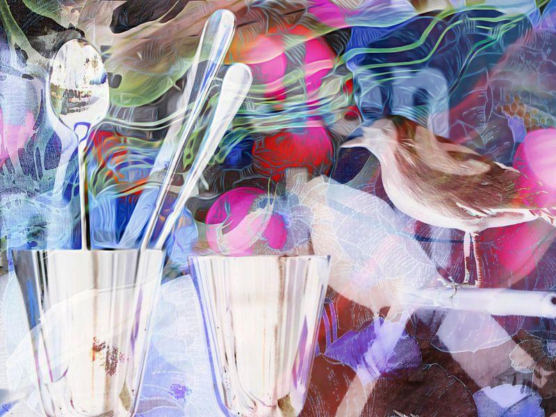 Vogel, Glas en bestek van angelique van Riet