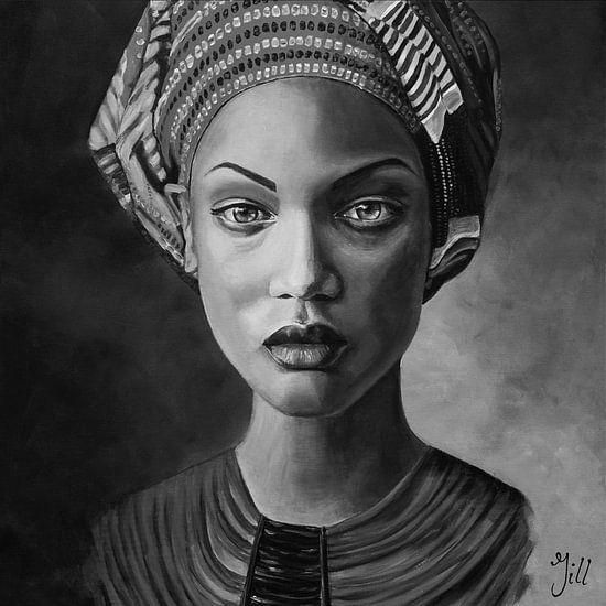 Schilderij van een vrouw met hoofddoek, zwart wit