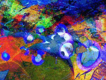 Modernes, abstraktes digitales Kunstwerk in Blau, Orange, Grün von Art By Dominic