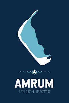 Amrum | Design kaart | Silhouet | Minimalistische kaart van ViaMapia
