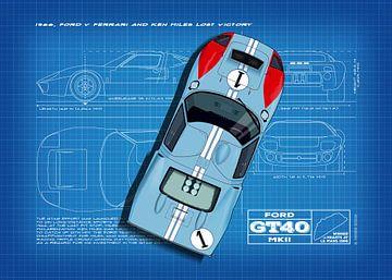 GT40 Le Mans 1966 Ken Miles Blueprint van Theodor Decker