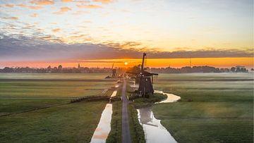 Zonsopgang molens Streefkerk van Sietse Hoegée
