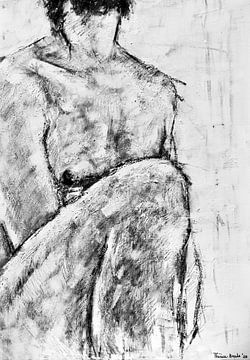 Gemälde eines nackten männlichen Modells in Schwarz-Weiß. von Therese Brals