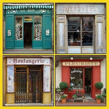 Collage van antieke Franse winkelpuien (type B) van Gert van Santen