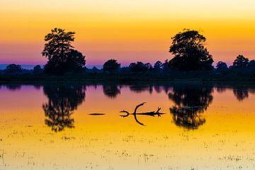Tweeling zonsondergang van Auke de Jong
