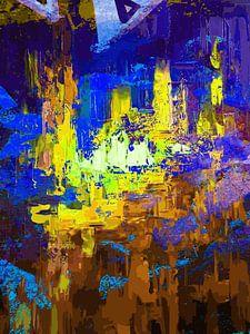 Modern, Abstract Digitaal Kunstwerk in Blauw Paars Geel van Art By Dominic