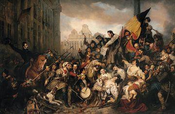 Episode des Journées de Septembre 1830, sur la Grand Place de Bruxelles, Gustave Wappers sur