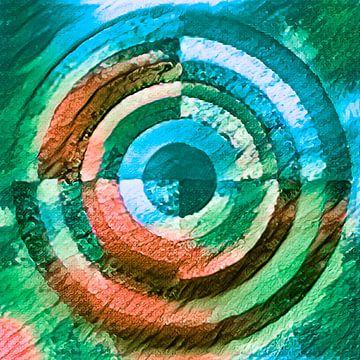 Cirkel groen, blauw en bruin van Rietje Bulthuis