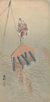 Ringmus op vogelverschrikker van Ohara Koson
