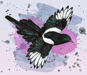 Een aquarel tekening van een vliegende ekster van Bianca Wisseloo