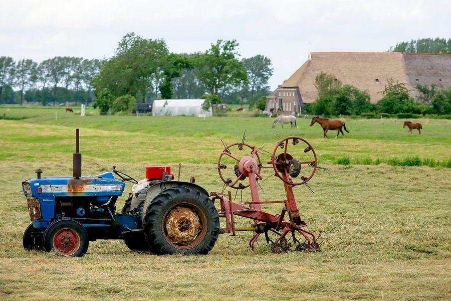 Groningen / Dorkwerd / Blauwe tractor in weiland / 2012