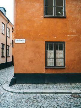 Orange Straßen in Gamla Stan, Stockholm (Schweden) von Michiel Dros