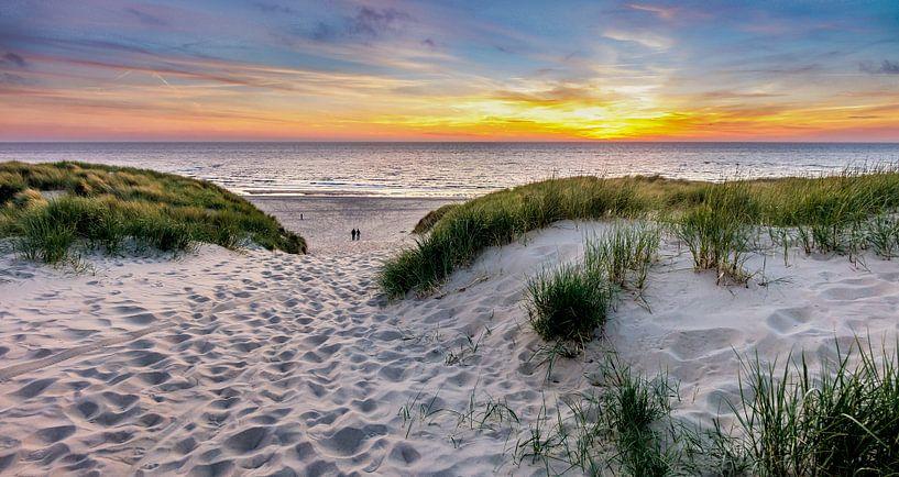 Paal 15 prachtige Zonsondergang - Texel van Texel360Fotografie Richard Heerschap