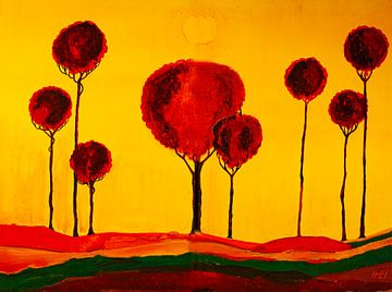Toscanalandschaft mit acht Bäumen von Klaus Heidecker