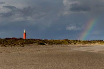 Regenbogen am Strand von Texel von Dokra Fotografie