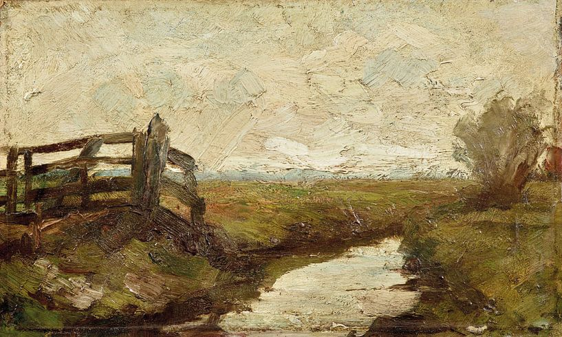 Bewässerungsgraben mit Holztor links, Piet Mondrian von Meesterlijcke Meesters