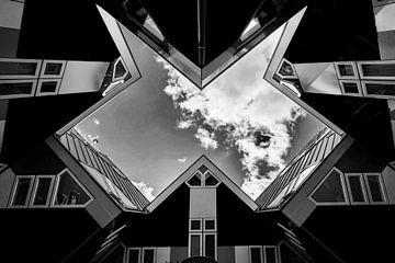 frontaanzicht van kubes woningen in zwart-wit