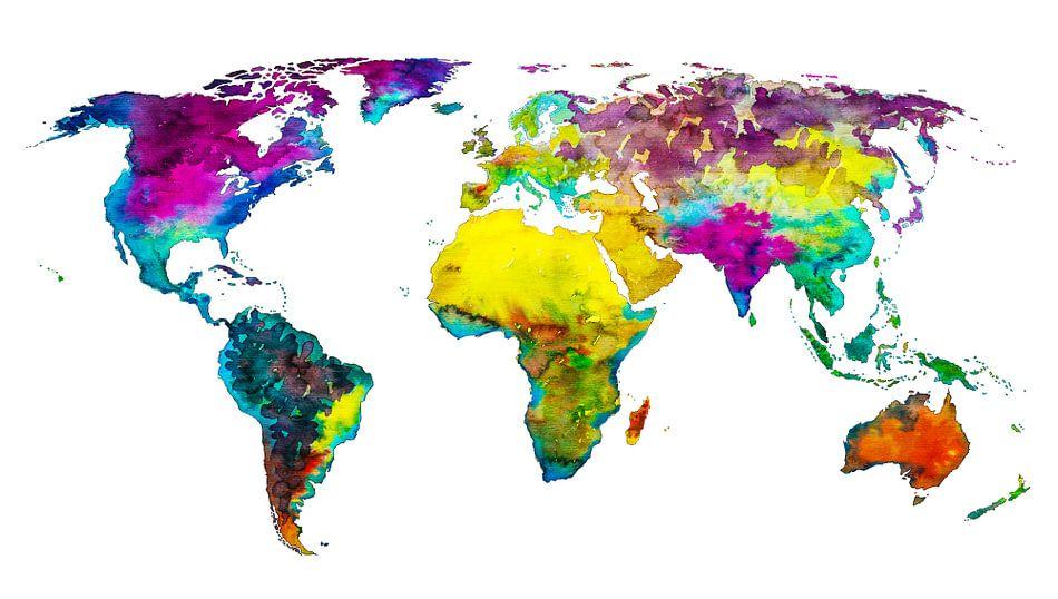 Tropische Farbe Weltkarte Poster - - Wereldkaarten.Shop - | OhMyPrints