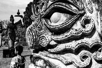 Detail beeld in Vientiane  van Ilse De Pourcq