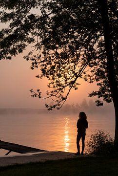 een silhouet van een vrouw die staat aan de maas van Compuinfoto .