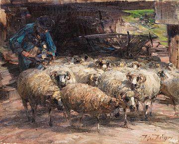 Schäfer mit Herde am Brunnen, HEINRICH VON ZÜGEL, 1925 von Atelier Liesjes