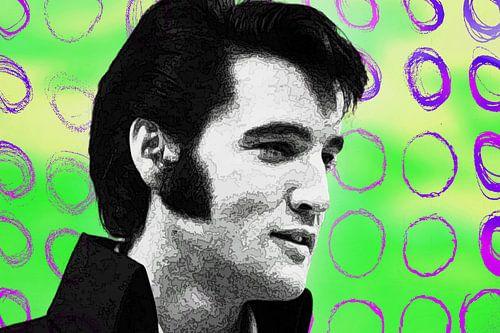 Elvis Presley Abstract Pop Art Portret in  Groen Roze