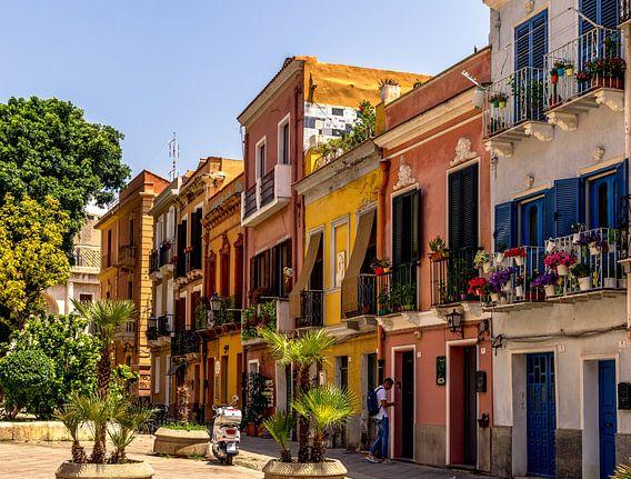 Gekleurde huizen van Cagliari
