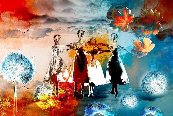 prima ballerine in oranje en blauw tussen de bladeren en bloemen