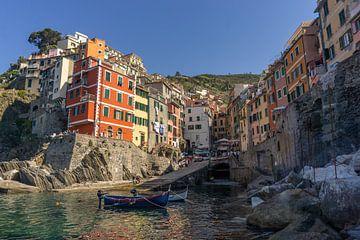 Sfeervolle haven in Riomaggiore, Cinque Terre van Reis Genie