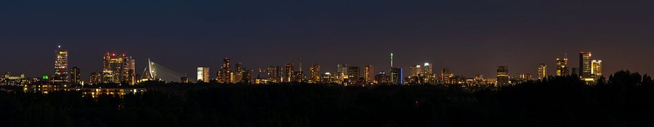 Rotterdam skyline bij nacht van Nico Dam