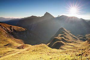 morning sunshine over mountain range