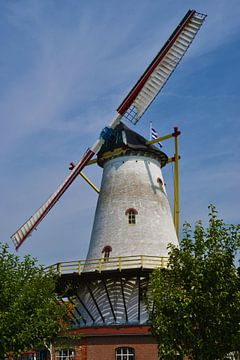 Windmühle De Graanhalm in Burgh-Haamstede dreht sich mit zwei Segeln von Rob Pols
