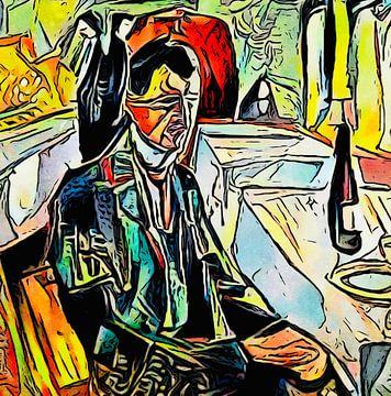 Zelfportret (met fles) van zam art