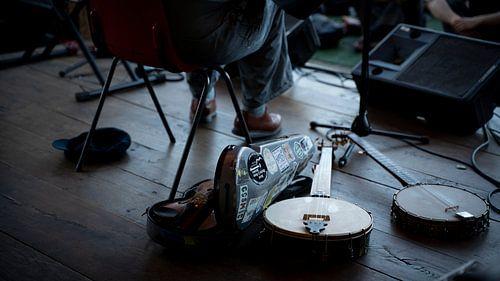 Banjo's liggen te wachten tot hun beurt