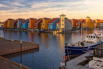 Reitdiephaven, Groningen - Sonnenuntergang von Thomas van Galen