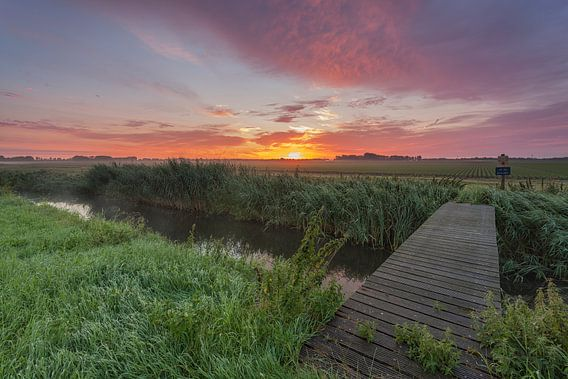 Zonsopkomst Schokland provincie Flevoland