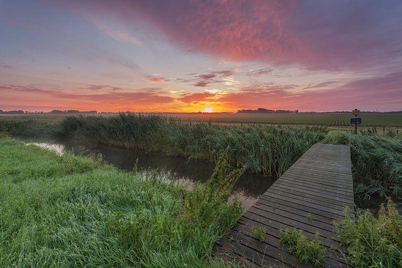 Sunrise-Schock Land Provinz Flevoland von Adrian Visser