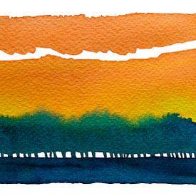 Sonnenaufgang hinter der Baumreihe | Aquarellmalerei von WatercolorWall