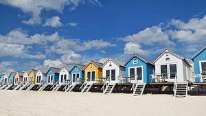 Strandhäuser auf dem Stand von Vlissingen in Zeeland von Zeeland op Foto