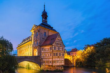 Sonnenuntergang am alten Rathaus in Bamberg, Bayern, Deutschland von Henk Meijer Photography