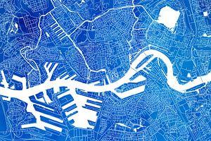 Rotterdam | Stadskaart Blauw Aquarel