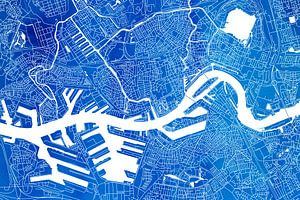 Rotterdam | Stadskaart Blauw Aquarel van