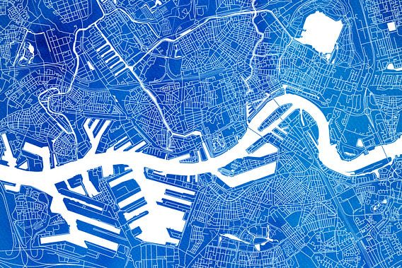 Rotterdam   Stadskaart Blauw Aquarel van - Wereldkaarten.Shop -