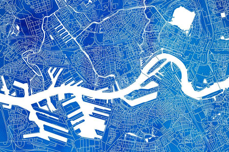 Rotterdam   Stadskaart Blauw Aquarel
