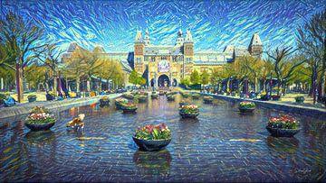 Stilvolles Kunstwerk Amsterdam: Rijksmuseum Amsterdam im Stil von Van Gogh von Slimme Kunst.nl
