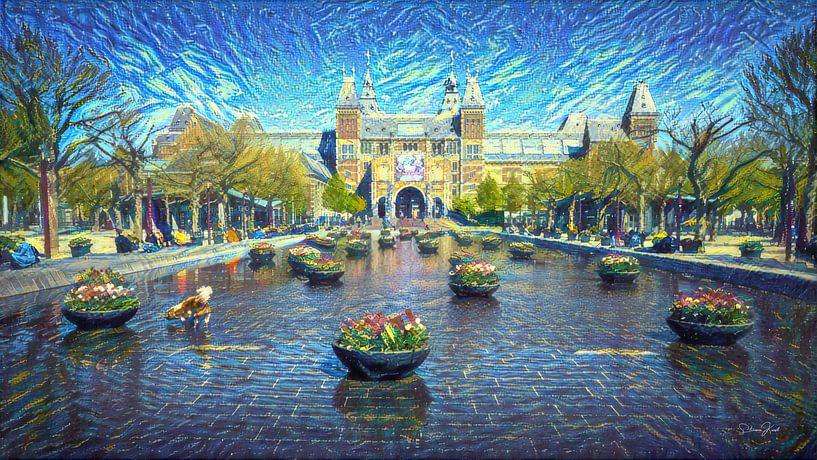 Stijlvol kunstwerk Amsterdam: Rijksmuseum Amsterdam in stijl van Van Gogh van Slimme Kunst.nl